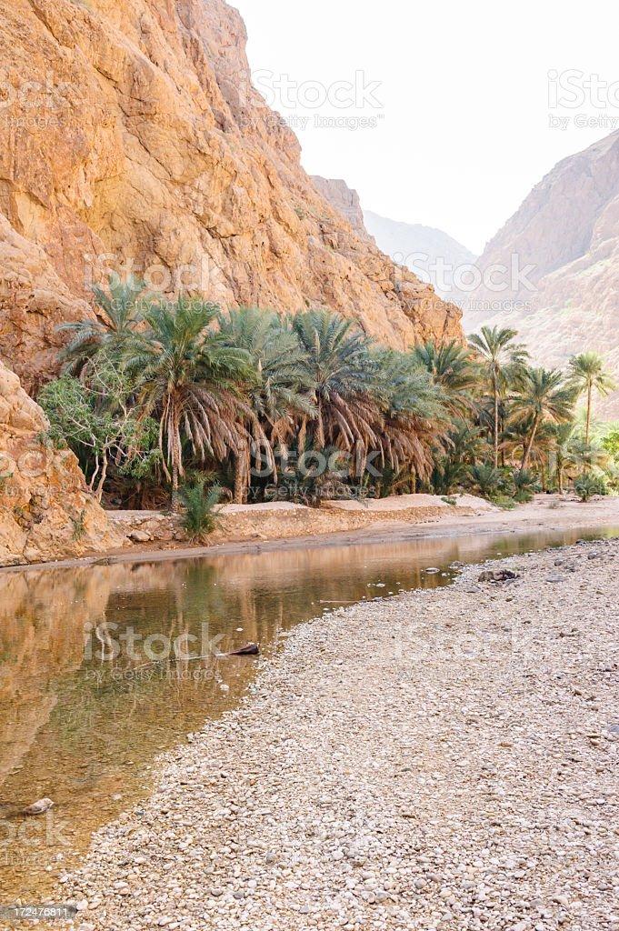 Wadi Shab entrance stock photo