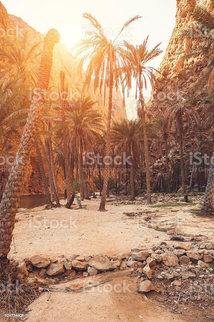 Wadi Shab entrance stock photo