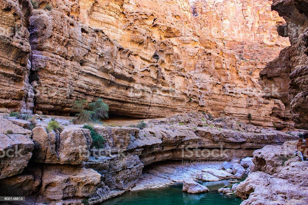 Wadi Shab in Oman stock photo