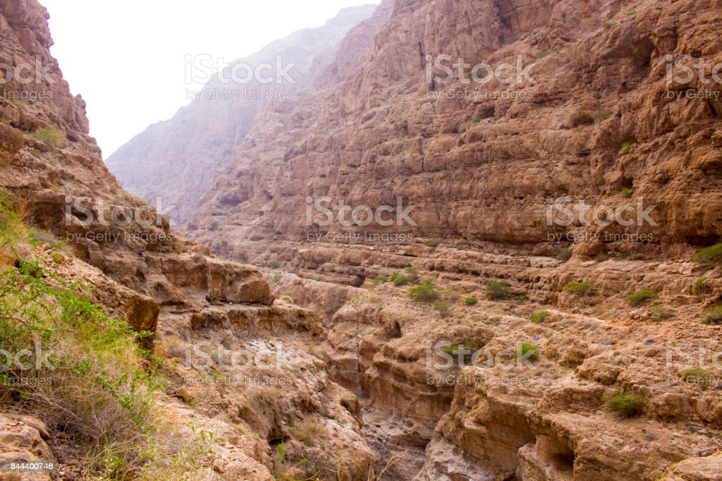 Wadi Shab in the Sultanate of Oman stock photo