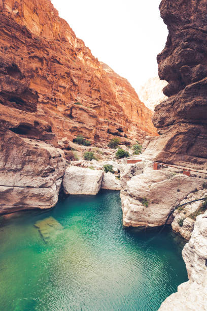wadi shab riverbed, oman beautiful wadi shab riverbed oasis at the sultanate of oman. riverbed stock pictures, royalty-free photos & images