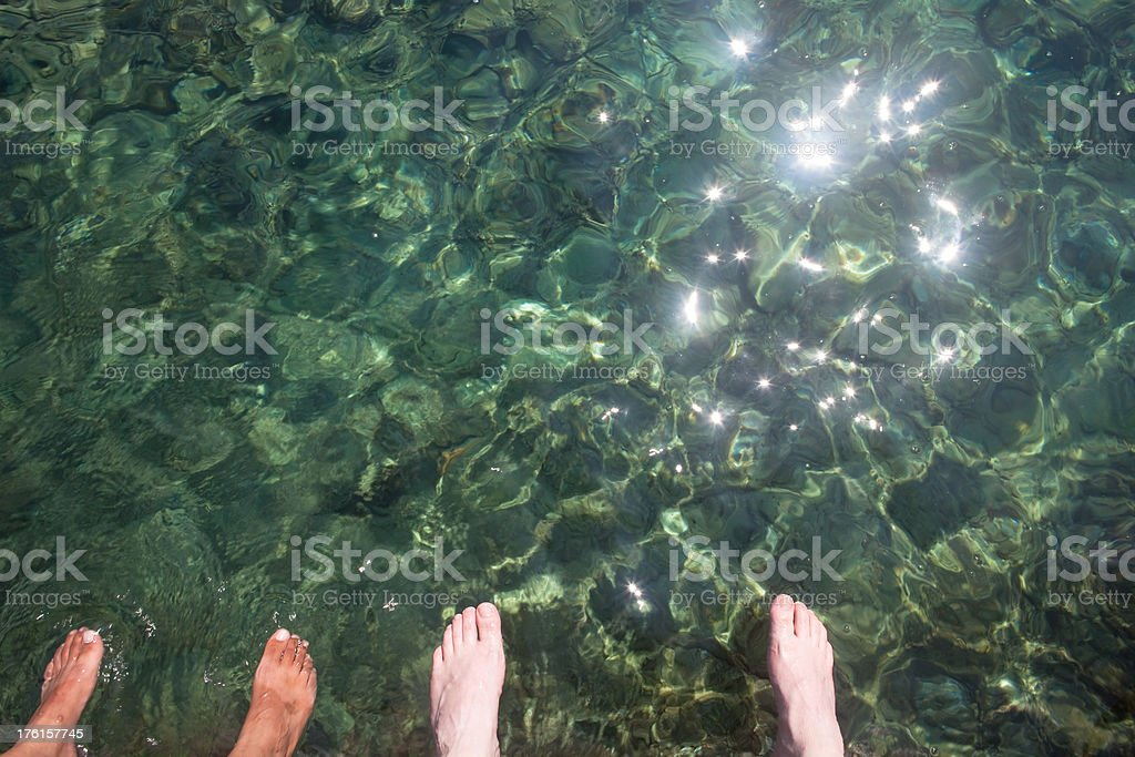 Wading in the Mediterranean stock photo
