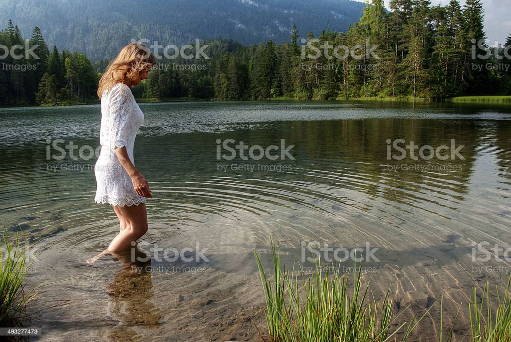 Wading in Water stock photo