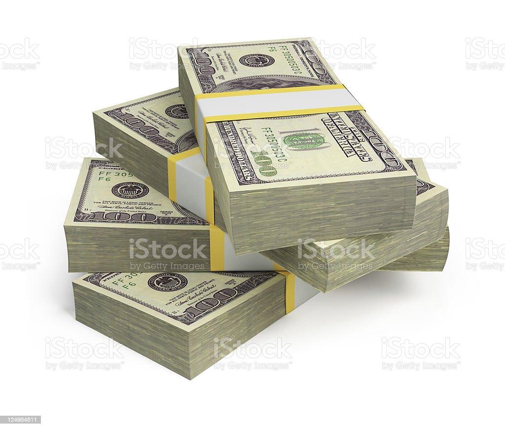 wads of dollars stock photo