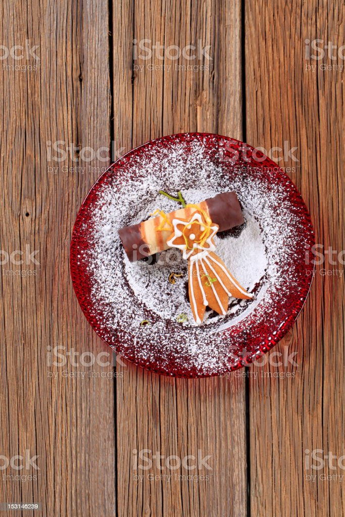 Wafer cookie and gingerbread comet royalty-free stock photo