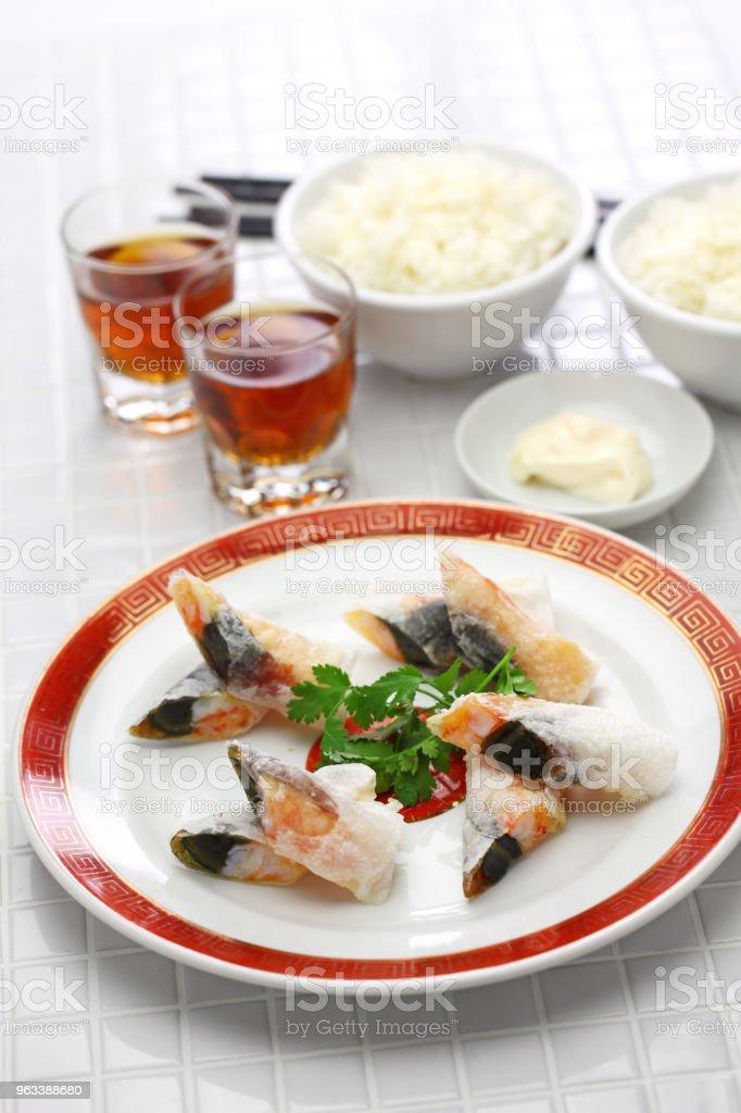 wafer räkor rullar med talet ägg, Kinesisk dim sum - Royaltyfri Ankägg Bildbanksbilder