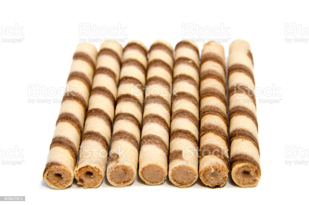 wafer rolls with chocolate isolated on white background royalty-free stock photo