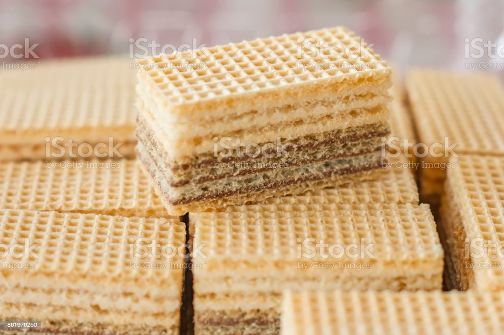 Wafers with chocolate filling stock photo