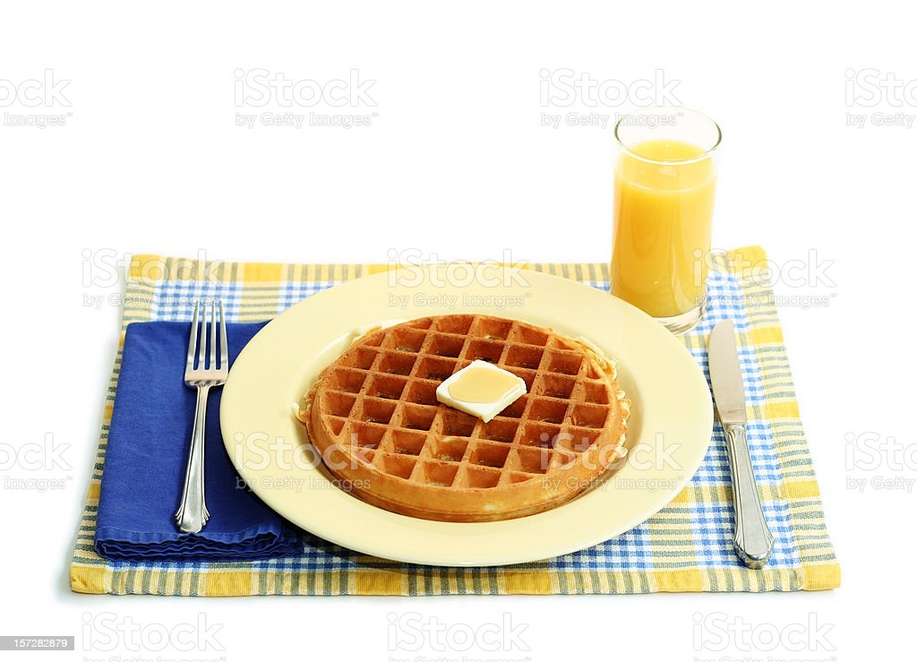 Waffle and Orange Juice Breakfast royalty-free stock photo