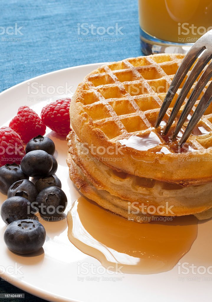 Waffle Breakfast with Fresh Blueberries royalty-free stock photo