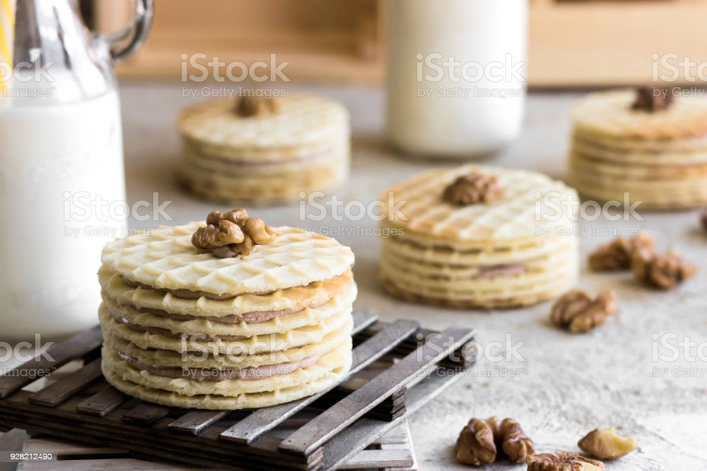 Waffle cookies with milk stock photo