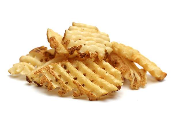 Waffle Fries Waffle fries on a white background waffle stock pictures, royalty-free photos & images