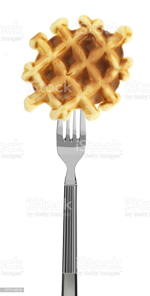 waffle on a fork stock photo