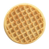 Round waffle viewed from above.  A clipping path is included.