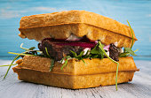 Waffle Sandwich on blue background