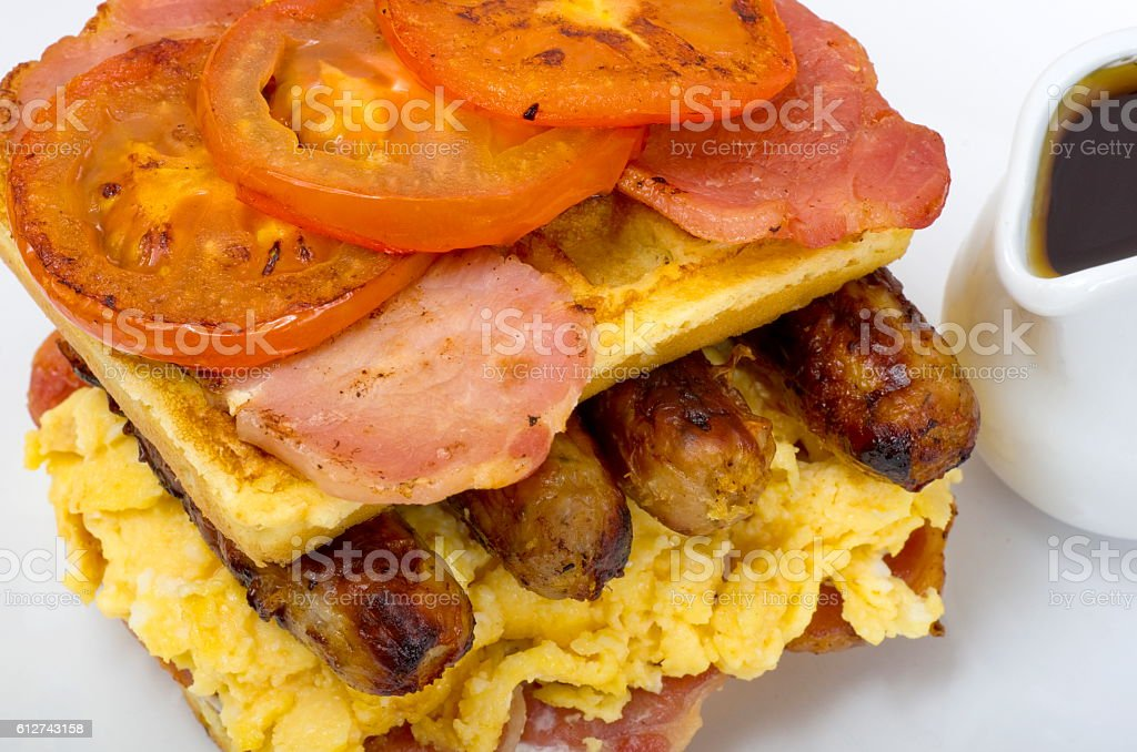 Waffle Stack Breakfast with Maple Syrup stock photo
