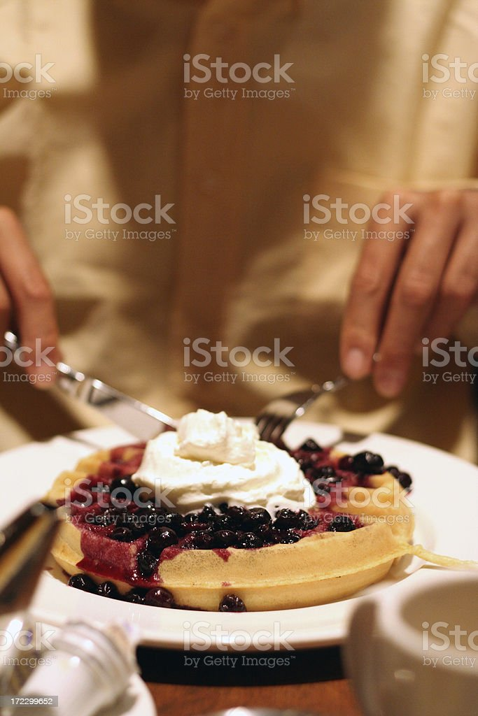 Waffle with Berries and Whipped Cream royalty-free stock photo