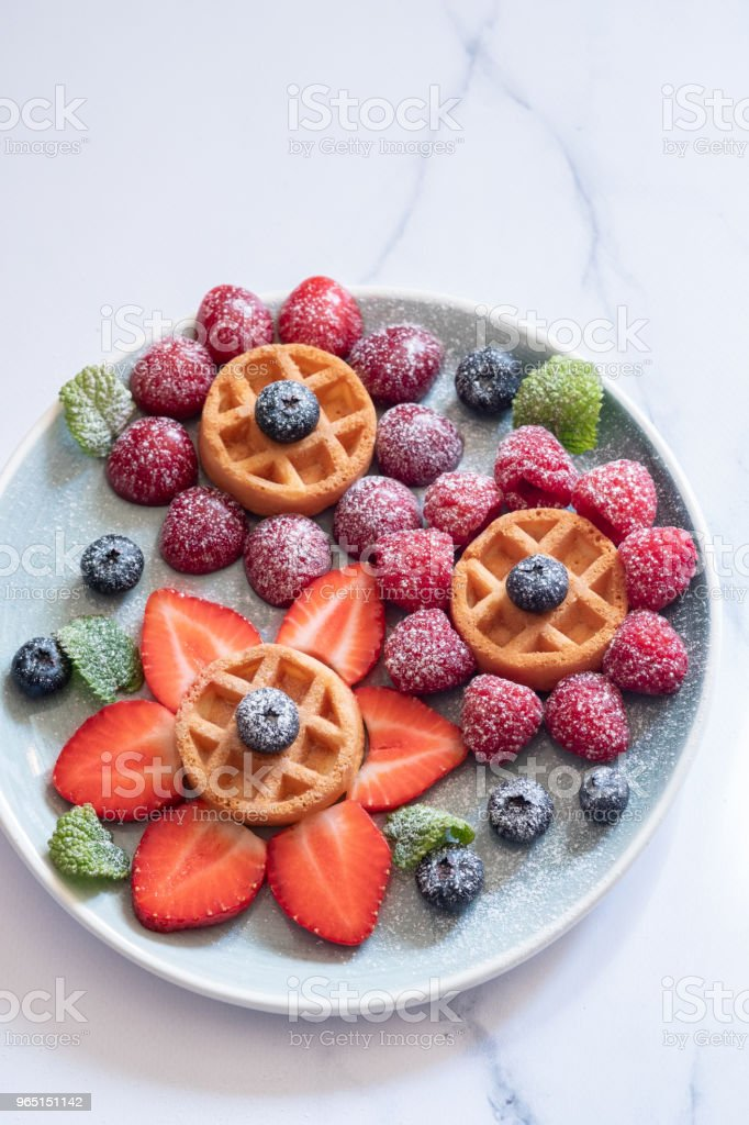 Waffle with berries for kids royalty-free stock photo