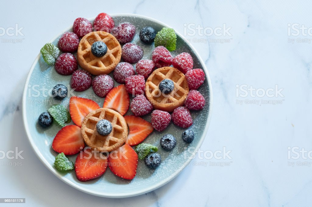 Waffle with berries for kids zbiór zdjęć royalty-free