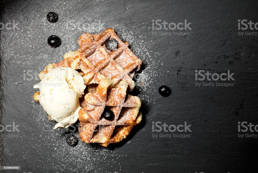 Waffles And Ice Cream stock photo