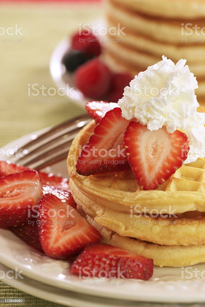 Waffles and pancakes royalty-free stock photo