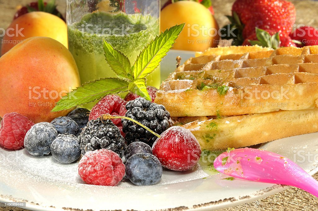 Waffles fruits and peffermint royalty-free stock photo