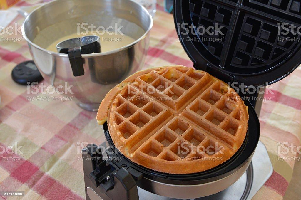 Waffles gold and crispy stock photo