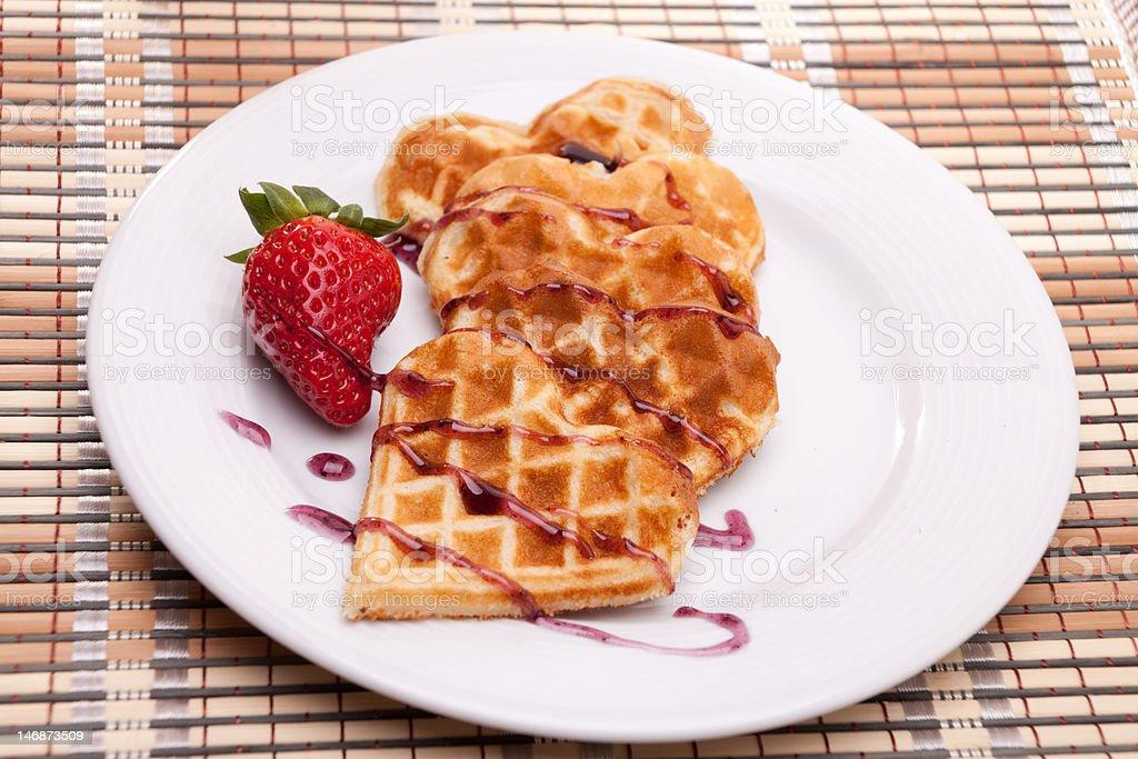 Waffles in Heart Shape royalty-free stock photo