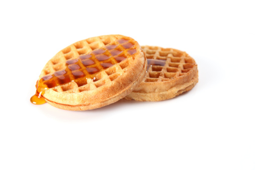 Waffles with maple syrup.