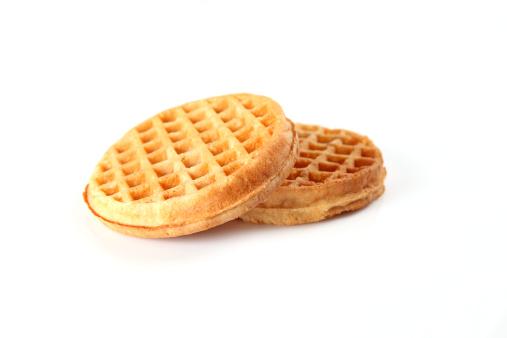 Waffles on white.