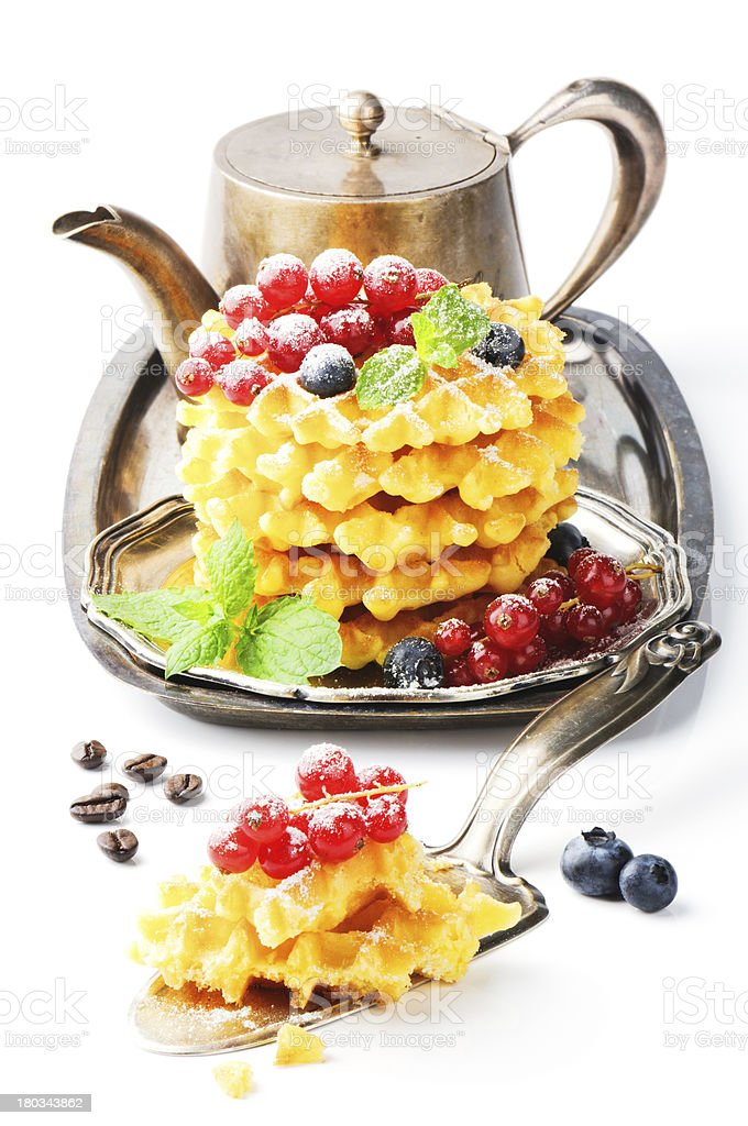 Waffles with fresh berries and coffee royalty-free stock photo