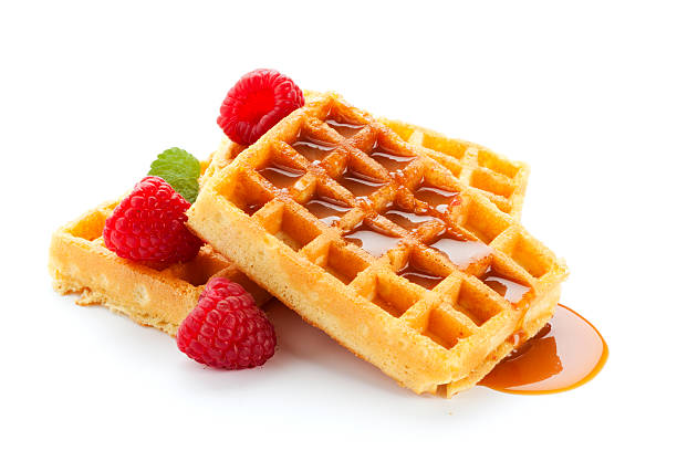 waffles with raspberries and caramel sauce  waffle stock pictures, royalty-free photos & images