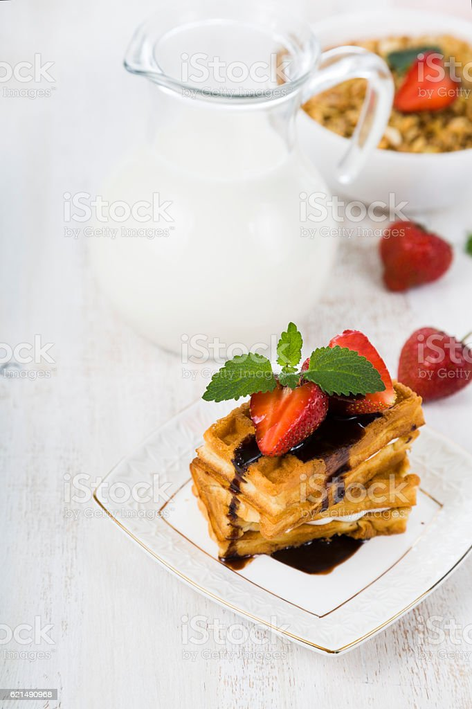 Cialde di fragole e cioccolato foto stock royalty-free