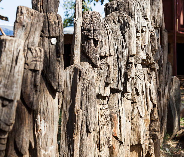 Waga - carved wooden grave markers. Arfaide. Ethiopia. stock photo