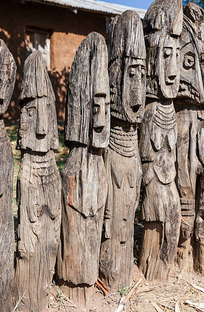 Waga - carved wooden grave markers sometimes misleadingly referr stock photo