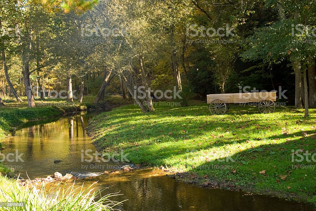 Wagon by the River stock photo