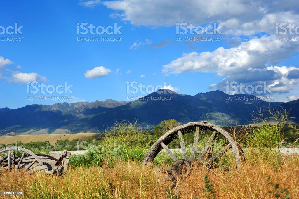 Wagon Faces Absaroka Range - Royalty-free Abandoned Stock Photo