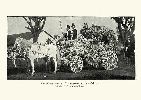 Vintage photograph of A wagon from the New Orleans Flower Parade , 19th Century