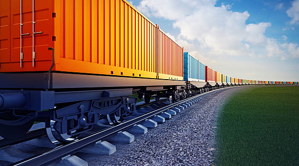wagon of freight train with containers - godståg bildbanksfoton och bilder