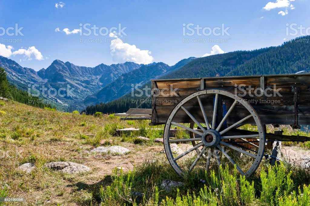 Wagon Wheel and Mountain View Vail Colorado stock photo