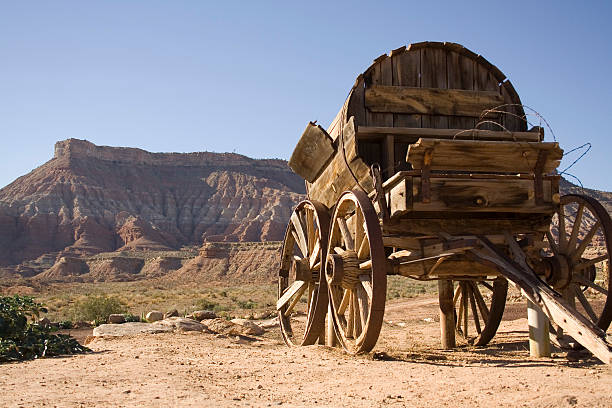 Wagon with mesa out west stock photo