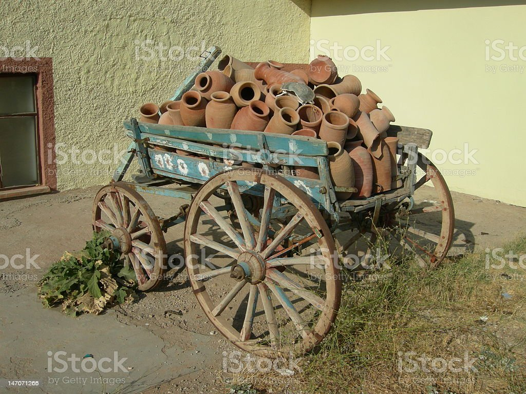 Wagon with pottery
