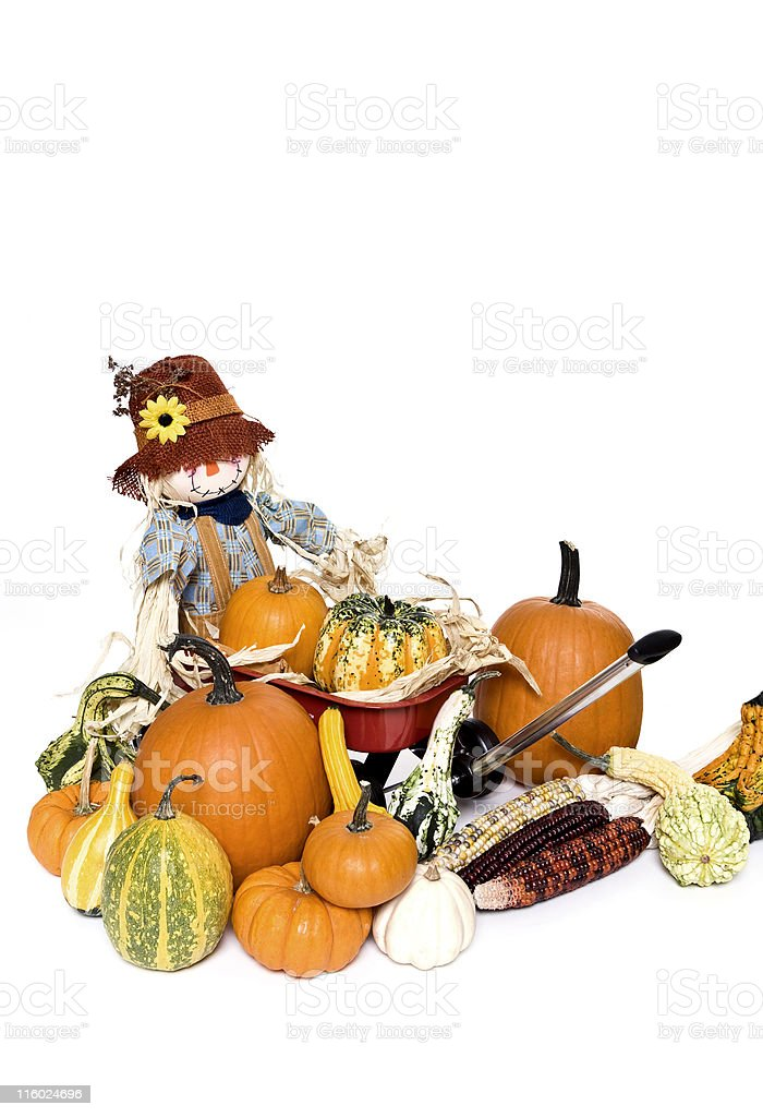 Wagon with Scarecrow and Gourds royalty-free stock photo