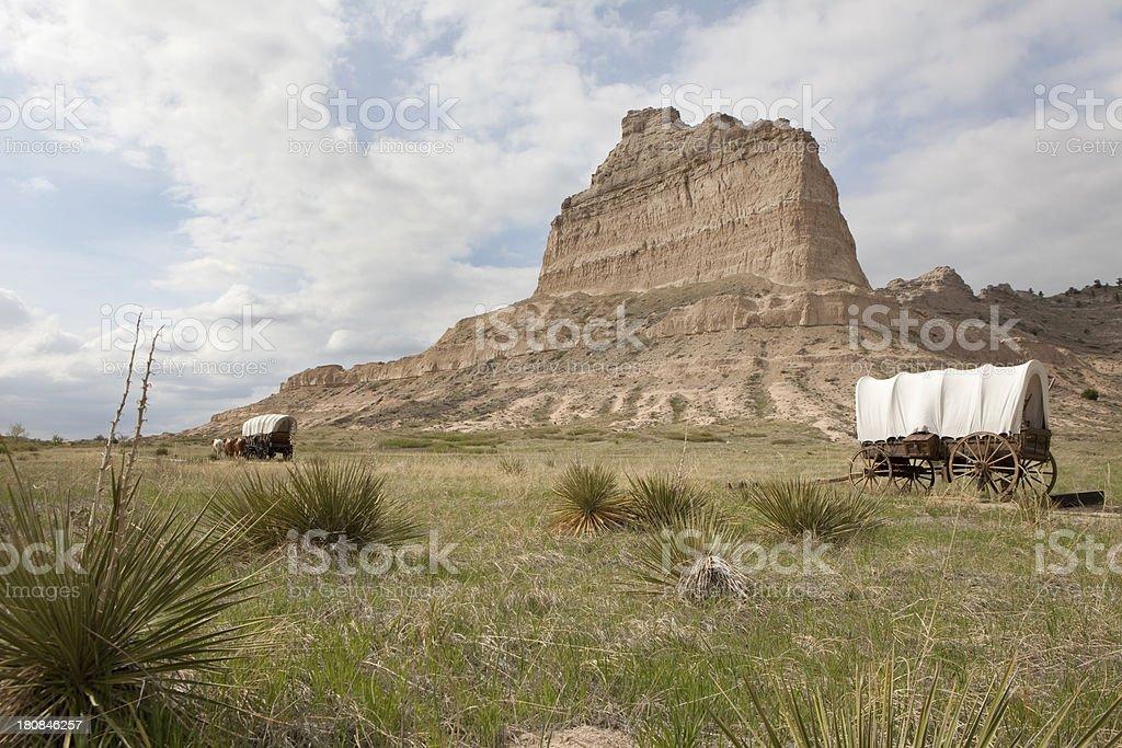 Wagons and Scotts Bluff National Monument Nebraska stock photo