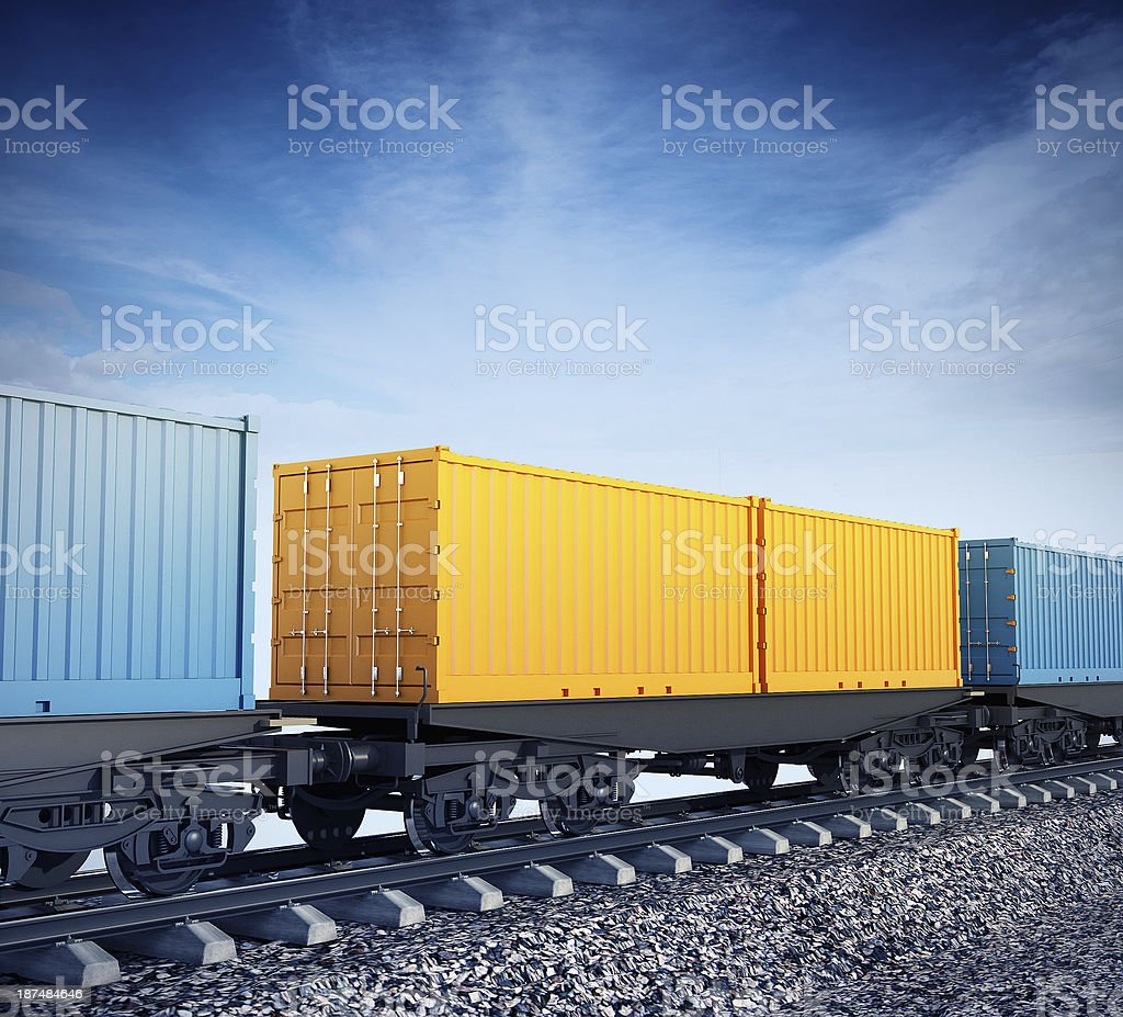 Wagons of freight train stock photo