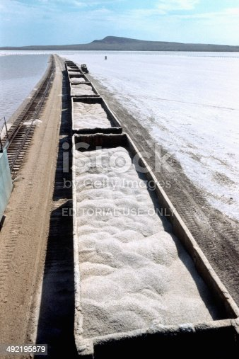 Astrakhan, Russia - June 3 , 1995 : Mining and loading of salt (NaCl) in the wagons on the lake Baskunchak (enterprise JSC