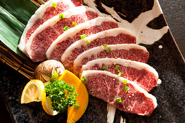 Wagyu Beef sliced stock photo