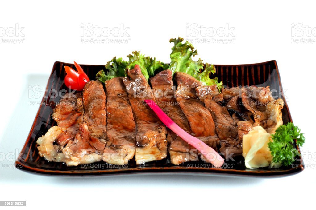 Wagyu Beef Teriyaki , isolated on white background (Clipping path) stock photo