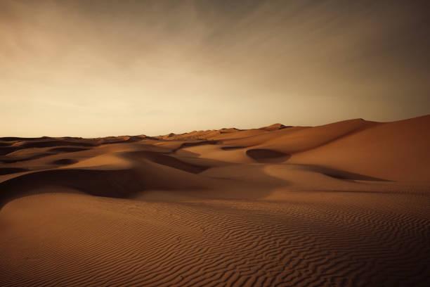 wahiba sands desert sand dunes, oman stock photo