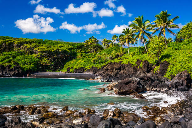 Waianapapa State Park, Maui Waianapanapa State Park, Maui black sand beach black sand stock pictures, royalty-free photos & images